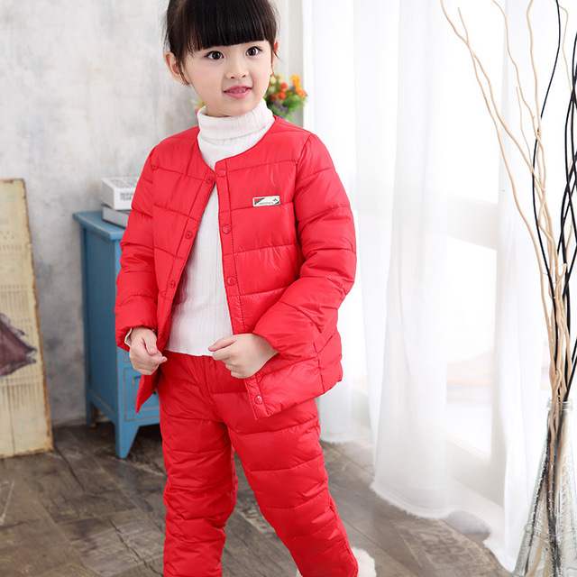 fddeb66b6 Clearance 2017 winter warm children s clothing sets 90% white duck ...