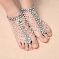 1 Pair Boho Multilayer Imitation Pearl Anklet For Women Tassel Rhinestone Foot Jewelry Barefoot Sandal Crystal