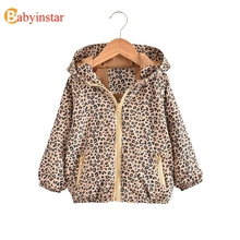 2019 Girls Jackets & Coats Cheetah Print Girls Coat Hooded Baby Girl Fall Clothes Warm Coat Outerwear Autumn Toddler Baby Jacket hot sale 2017 baby girls leather jacket autumn child toddler girl heart shape back pu jackets coat fashion designer outwear