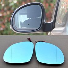 купить 2pcs New Power Heated w/Turn Signal Side View Mirror Blue Glasses For Skoda Yeti дешево