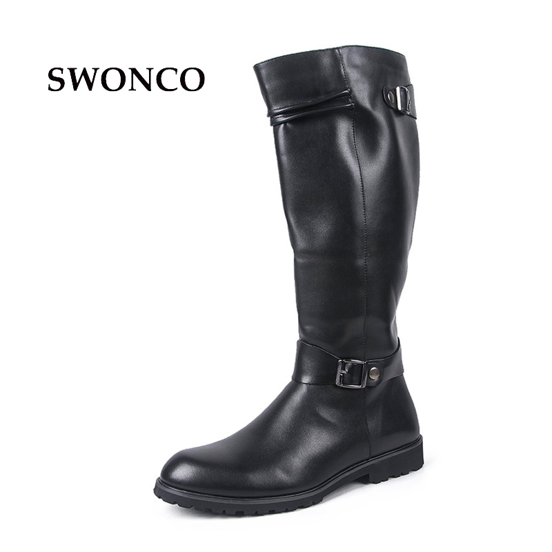 SWONCO Mens Boots 2018 Autumn Winter PU Leather Pointed Toe High Boot Leather Shoes Men Boots Knee-High Warm Long Boot Shoes