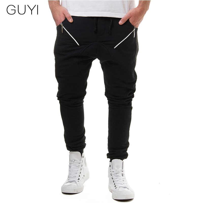 GUYI 3 цвета Slash Поддельные молнии мужские спортивные штаны шнурок полной длины Твердые шаровары модные повседневные штаны