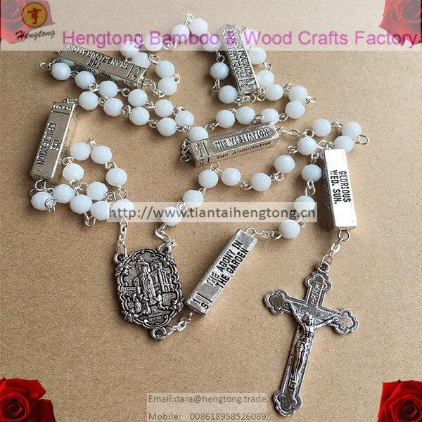 1caf652218e Chapelet de perles de verre blanc de 6mm