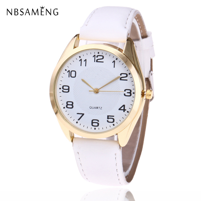 Фото 2017 Fashion Dress Golden Women Casual Quartz Watch PU Leather Band Round Simple Dial Clock Wristwatch For Lady Women Gift