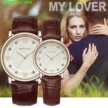 Любители пару часов Санда Для женщин модное платье Часы Для мужчин Водонепроницаемый Спорт часы Для женщин кожаный ремешок кварцевые наручные часы