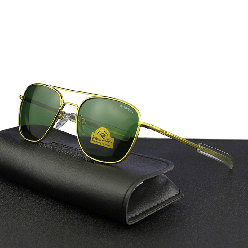 Piloto eua. re óculos de sol masculino qualidade superior designer marca randolph agx temperado lente de vidro ao óculos de sol masculino qf562