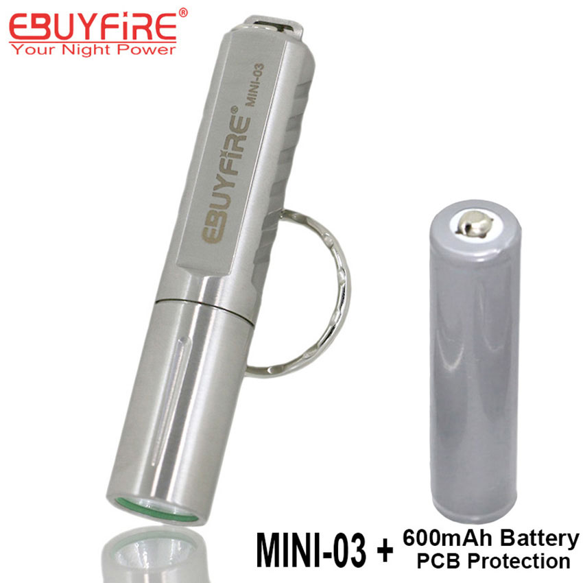 EBUYFIRE Mini-03 CREE XPG R5 LED Super Flashlight 10400 Torch Keychain LED Light with PCB Protected Rechargeable 10440 battery