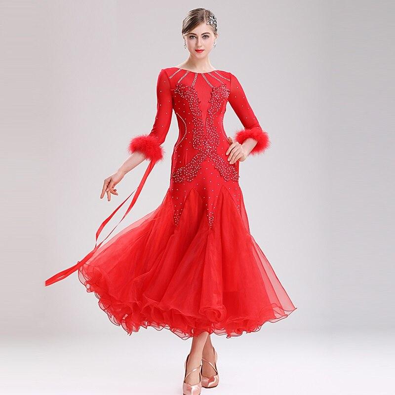 Robes de concours de danse de salon robe de danse de valse robe de bal vêtements de danse standard femmes costumes de danse plume blanc
