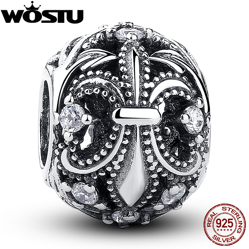 WOSTU Hot Sale 925 Sterling Silver Vintage Charm With Clear CZ Fit Original Bracelet Necklace Authentic DIY Jewelry