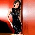 Nueva llegada de cuero negro dress mujeres erótico bodycon flaco sin mangas catsuit wetlook vinilo ruffles hem clubwear dress w1196