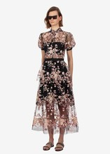 Summer women's mesh dress Hot Fashion embroidered sequins floral dress  Sexy see-through dress A405 floral print see through dress