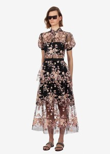 Summer women's mesh dress Hot Fashion embroidered sequins floral dress  Sexy see-through dress A405