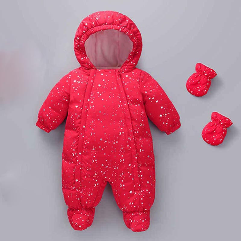 Baby Winter Romper Infant Children Kids Thicken Warm Climbing Clothes Newborn Clothing Toddler Jumpsuit Romper+Gloves+Shoes 3ps gemtot infant baby clothing romper toddler warm crawling clothes baby autumn and winter to go out wearing