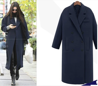 2017 Nuevas mujeres de la moda de lana largo abrigo de doble botonadura capa de foso de más tamaño casual Solid cashmere abrigo de otoño abrigo de invierno