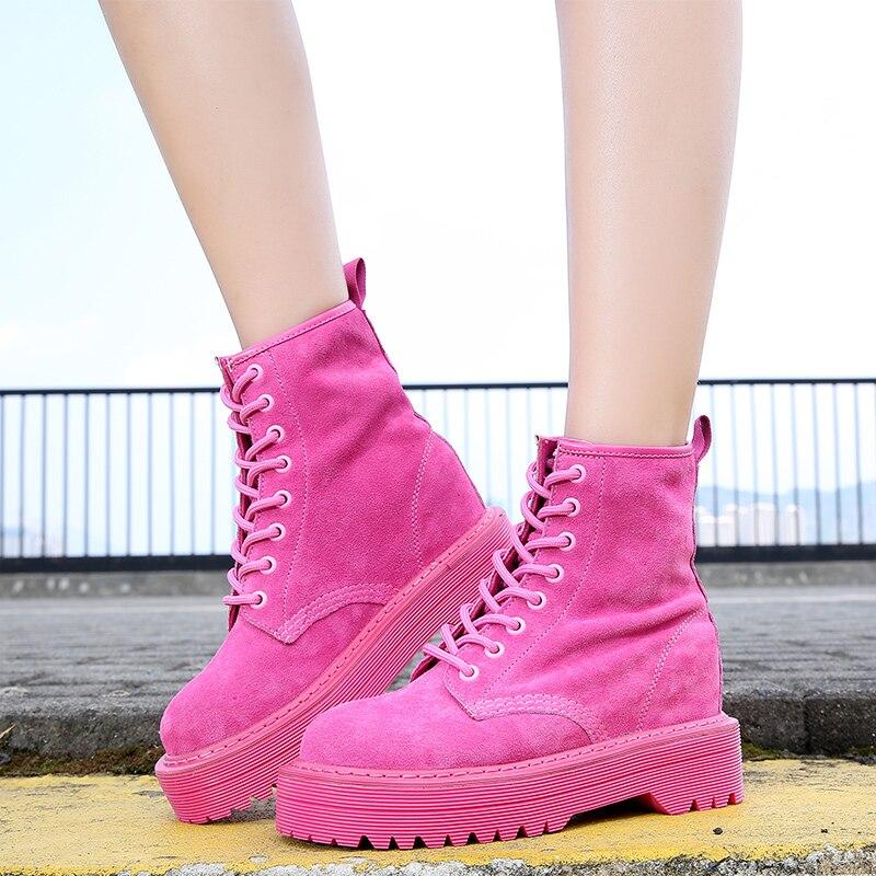forme Rose black Chaussures rose Martin Plate 2018 Cheville Pour rouge Wedge Pu Bottes Noir Feiyitu Croissante Mode Rouge Femmes Style En Cuir orange Punk Suédé rWCxBedo