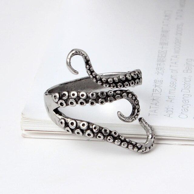 Venta caliente abierta ajustable sizestitanium acero gótico dedo del pulpo  del calamar del mar profundo Anillos 34b10a55232
