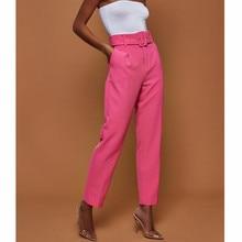 Office Lady Suit Pants Women Trousers Casual Pants High Waist Autumn Belted Straight Leg Slacks