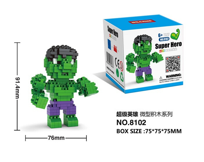 Baukästen & Konstruktion Hsanhe Marvel Hero Avengers Hulk Green Diamond DIY Nano Blocks Mini Building Toy