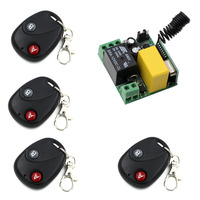 315Mhz 433Mhz 10A Relay Receiver 4Transmitter AC 220V 1CH RF Wireless Remote Control Switch For Light