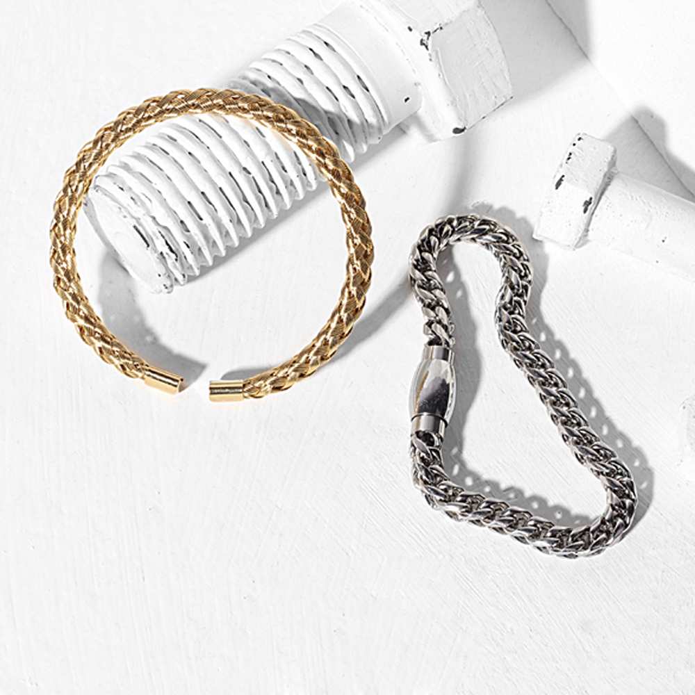 Beichong Trendy Knitting Titanium Steel Wire Bangle Jewelry Cable ...