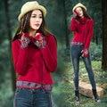 Camisa Femenina Mujeres del Suéter Femenino del Otoño Invierno Étnico Bordado Camisa de La camiseta Mujeres Camiseta de Manga Larga O Cuello Rojo