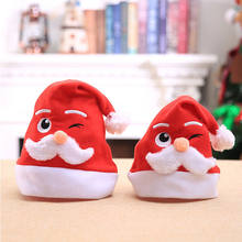 Sweet Christmas Hat Cap Party Santa Claus Red Plush Xmas Headgear Costume Family Parent Kids Christmas Hat Gifts(China)