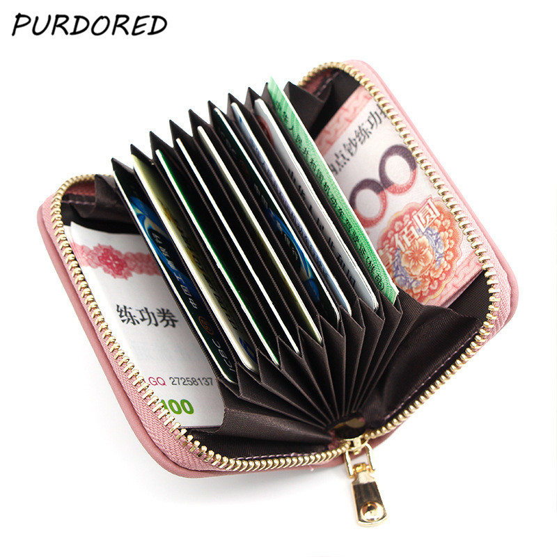 PURDORED 1 Pc Cat Card Holder PU Leather Small Zipper Mini Card Wallet  Women Coin Purse Female Business Card Holder  Billetera