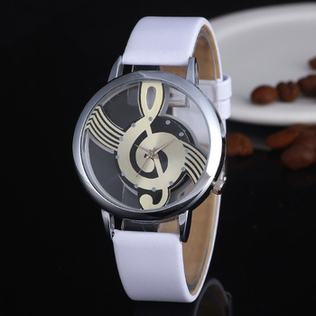Unsex Men Women Creative Watches Musical Note Symbol Leather Watch Ladies Dress Wristwatches Luxury Brand Male Sport Clock Hour