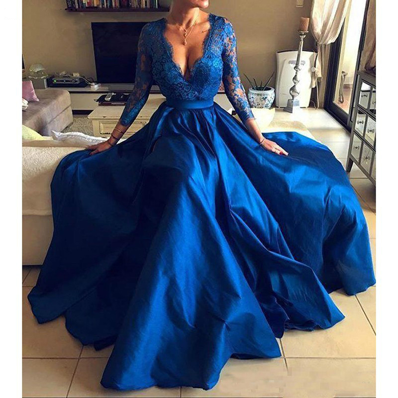 2019 Royal Blue Plus Size Prom   Dresses   Sexy V Neck Lace Appliques Long Sleeve Front Split Formal   Evening     Dresses   Party Gowns