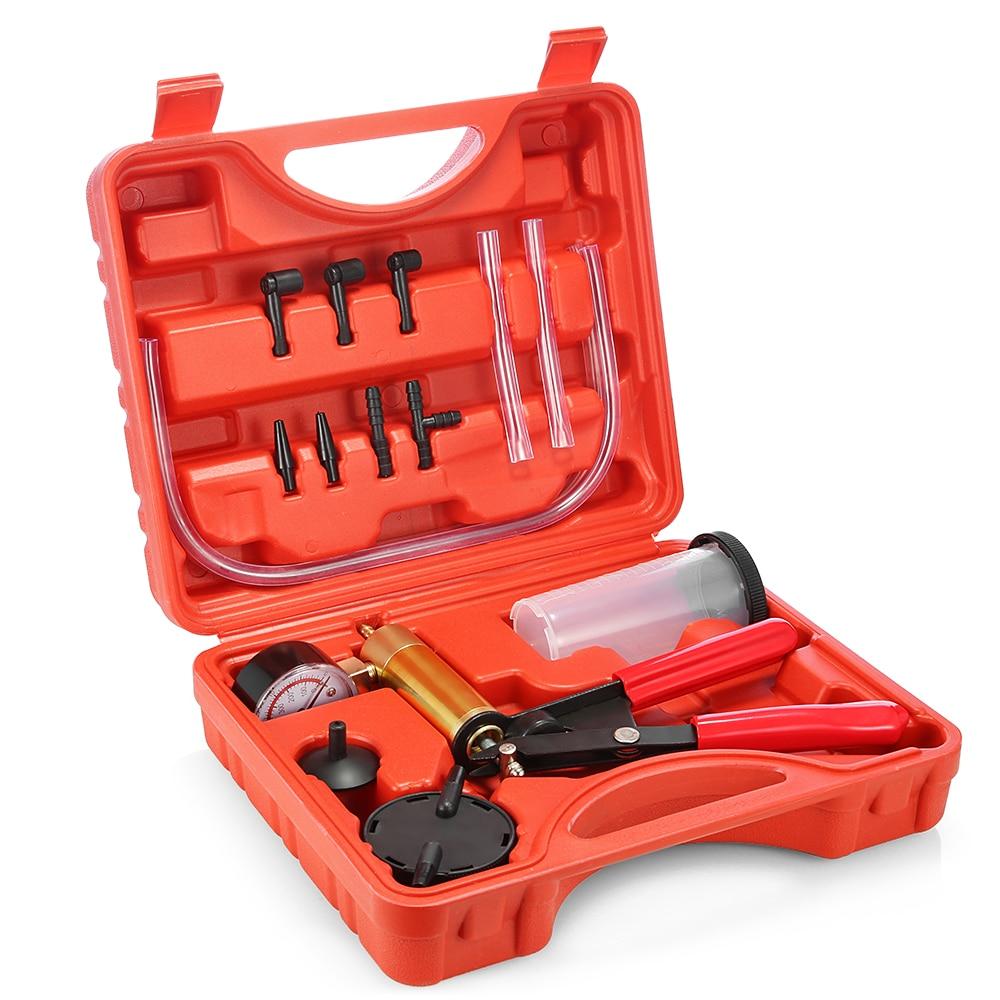 New Car Auto Hand Held Vacuum Pistol Pump Tester Kit 2 in 1 Brake Fluid Bleeder Adaptor Fluid Reservoir Tester Kit