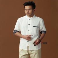 Hot Koop Wit Chinese heren Katoen Linnen Klassieke Kung Fu Shirt Chinese Knop Kostuum Tang Pak Maat Sml XL XXL XXXL