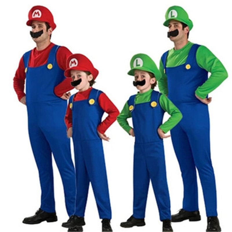 Adult Kids Super Mario Luigi Bros Halloween Costumes Cosplay Show Costume Set Cartoon Mario Uniform Family Parent-Child Clothes