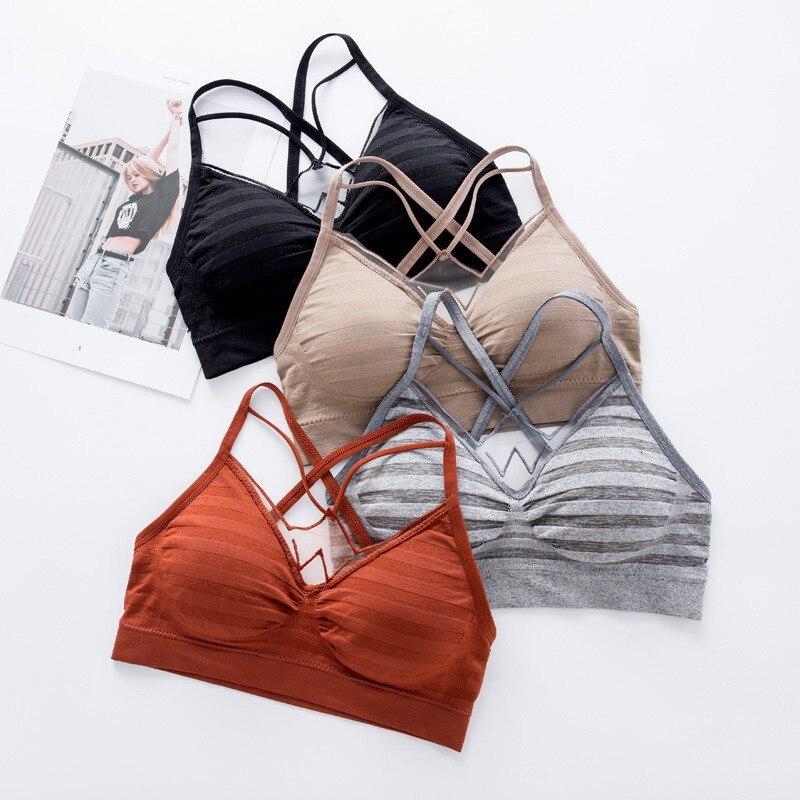 Summer Bra Sexy Back Seamless Wire Free Underwear Women Hollow Out Bras Beauty Tank Top