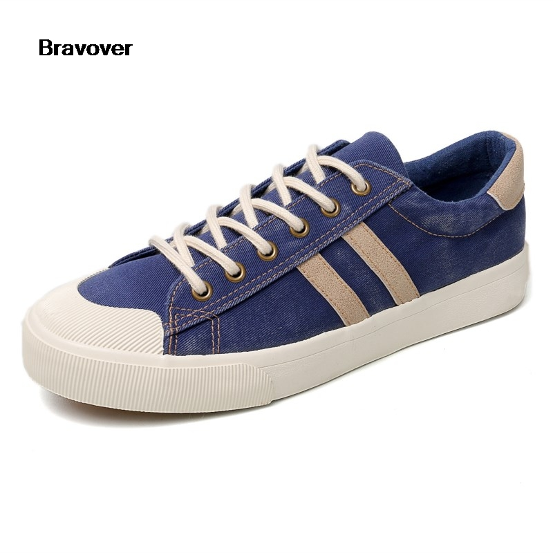 60a28dd60c9d Detail Feedback Questions about Bravover 2018 Spring Autumn Men Flat Denim Canvas  Shoes Fashion Solid Shoes Lace up Retro Casual Vulcanized Shoes Two Colors  ...