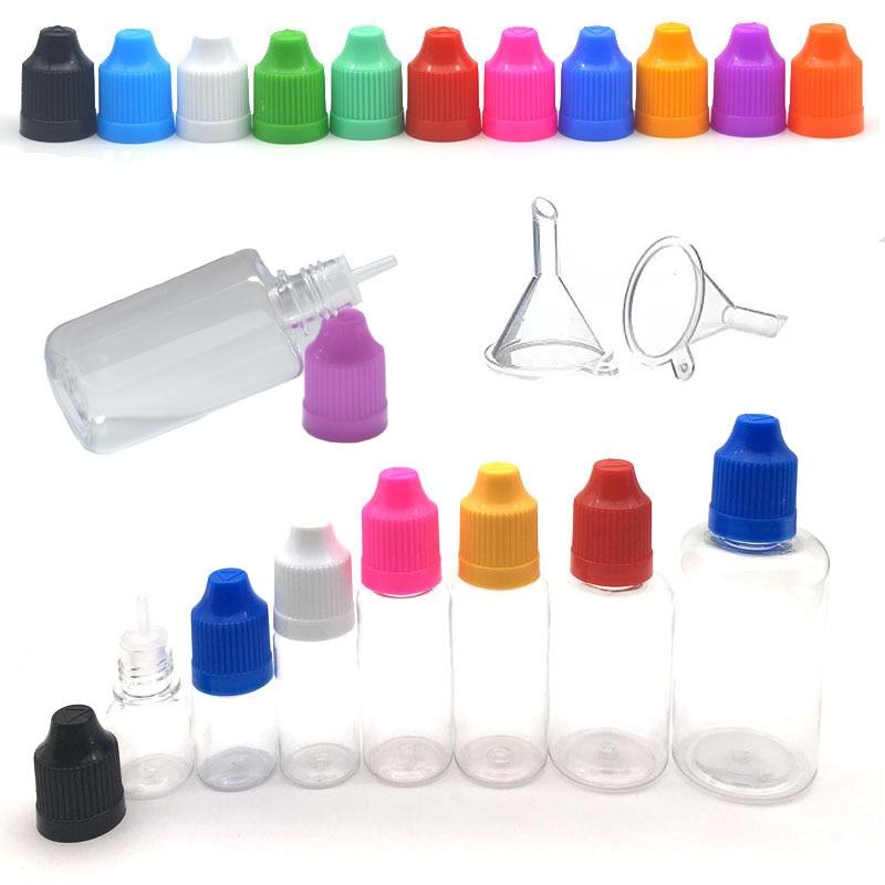 50pcs PET Plastic Empty Dropper Bottle 3ML 5ML 10ML 15ML 20ML 30ML 50ML Liquid Eye Clear Water Vial Long Tip Cap With Funnel