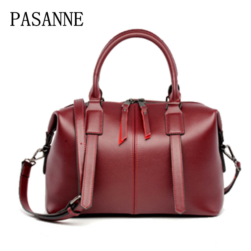 Fashion Woman Bag Leather Boston Handbags 2017 New PASANNE Luxury Genuine Leather Girl Female Handbag Lady Women Shoulder Bags 100% genuine leather women bags luxury serpentine real leather women handbag new fashion messenger shoulder bag female totes 3