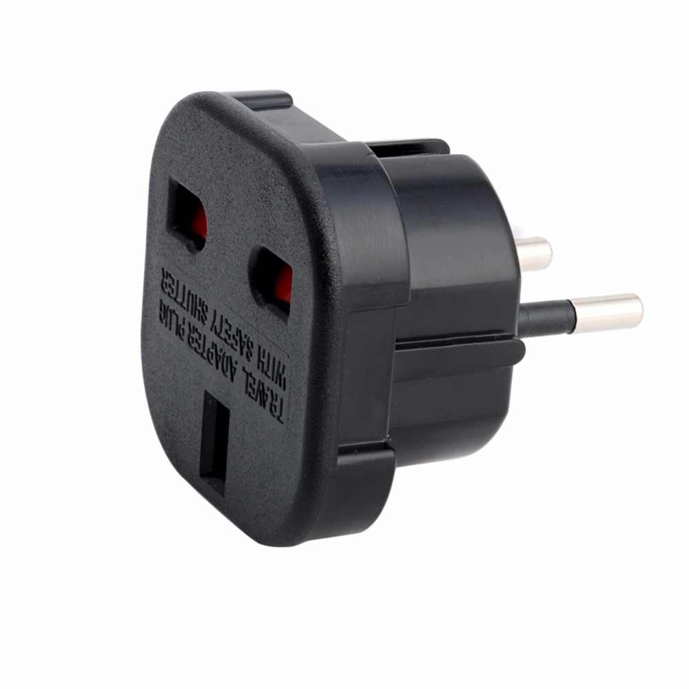 UK to EU 2 Pin Euro Europe AC Travel Power Adaptor Plug Socket Adapter Convertor-M40