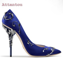 2017 spring summer newest pointed toe pumps matal decoration heel shoes wedding high heel pumps satin silk stiletto heel shoes