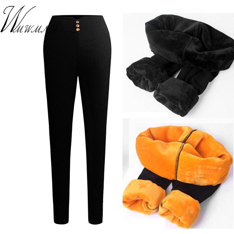 Mulheres mais tamanho grosso veludo quente calças outono inverno quente leggings moda magro cintura alta fino estiramento velo lápis calças