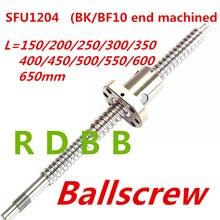 SFU1204 150 200 250 300 350 400 450 500 550 600 650 mm C7 כדור בורג עם 1204 מקורבות אחת כדור אגוז BK/BF10 סוף במכונה