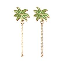 O envio gratuito de moda jóias senhoras Verão Estilo Oceano Coqueiro Pingente Longo Pedaço do parafuso prisioneiro Brincos Acessórios do verão