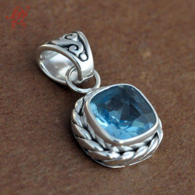Bali, inde et Népal Topaze Main 925 Charmes D'argent Sterling, Pierre Naturelle Carré Vintage Charmes pour Femmes hommes cadeau