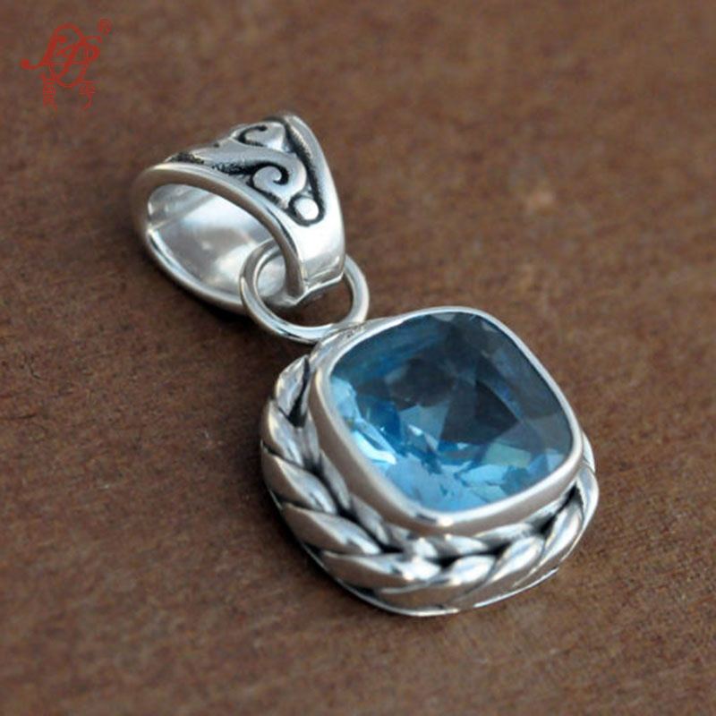 Bali, India and Nepal Topaz Handmade 925 Sterling Silver Charms,Natural Gemstone Square Vintage Charms for Women men gift bocai silver makeup india nepal bali silver acts the role of by hand rainbow blue moon stone ring