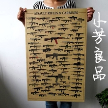 Pared Vintage Retro AK47 armas pistolas papel cartel pared Vintage papel cartel asalto RIFLES y carabinas 51*35