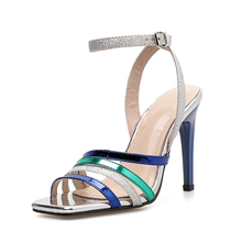 цена на shoes woman sandals summer shoes Color stripe super high heels women light mixed colors shoes Silk and satin ankle strap rome