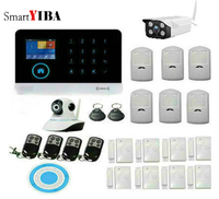 SmartYIBA WiFi GSM GPRS SMS Wireless Home Security Alarm System IOS Android APP Remote Control Detector Sensor with Outdoor cam