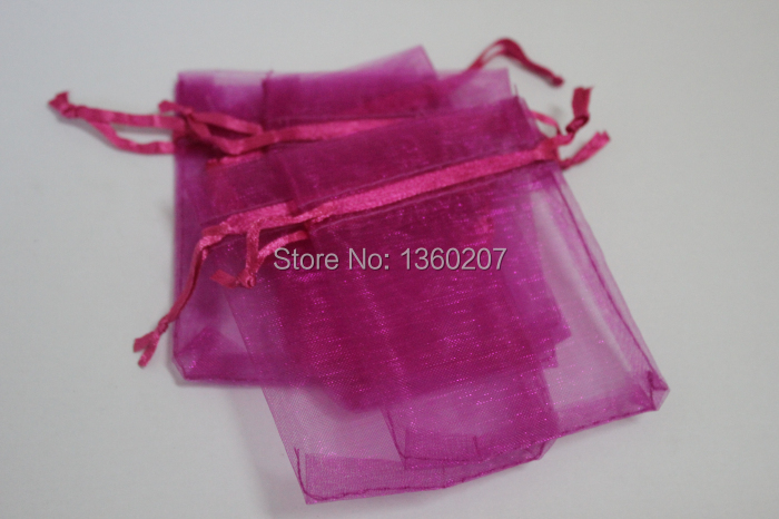 100pcs/lot 10*15cm Hot Pink Organza Bags Wedding Favour Gift Bag Jewellery Pouches