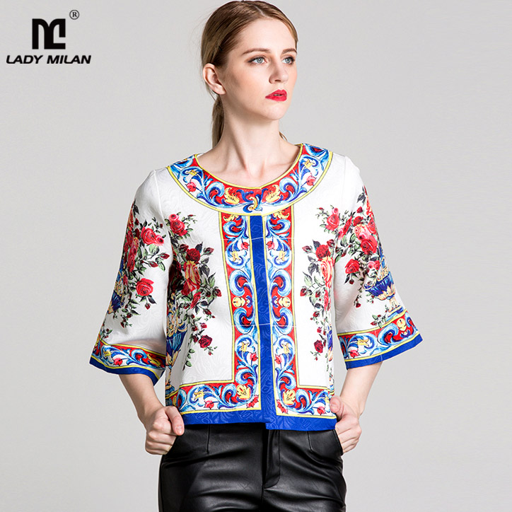 New Arrival 2018 Spring Womens O Neck 3/4 Sleeves Floral Printed Dobby Elegant Fashion Blouse Jackets