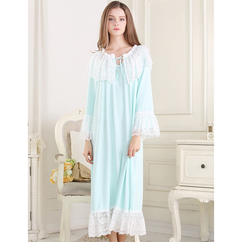 Buy 2018 New Audrey Hepburn Style Luxury Lace Women Nightgowns Retro Royal