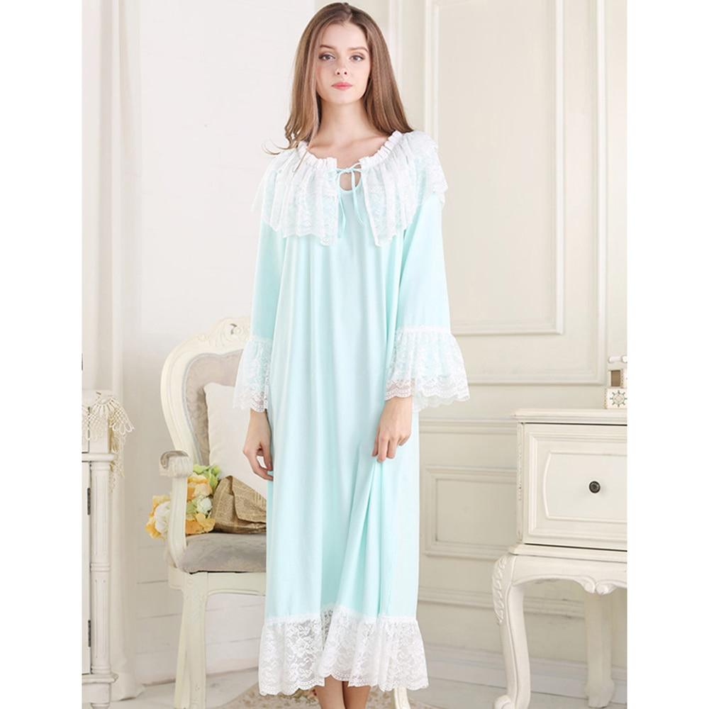 ▽2018 New Audrey Hepburn Style Luxury Lace Women Nightgowns Retro ...